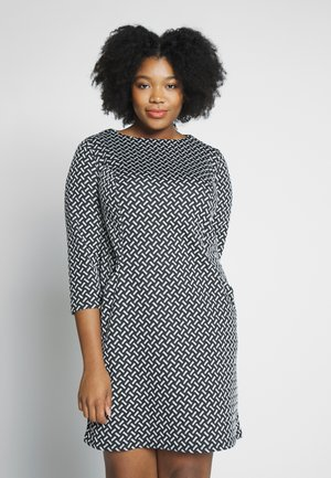 TEXURED PONTE DRESS WITH POCKETS - Robe fourreau - black