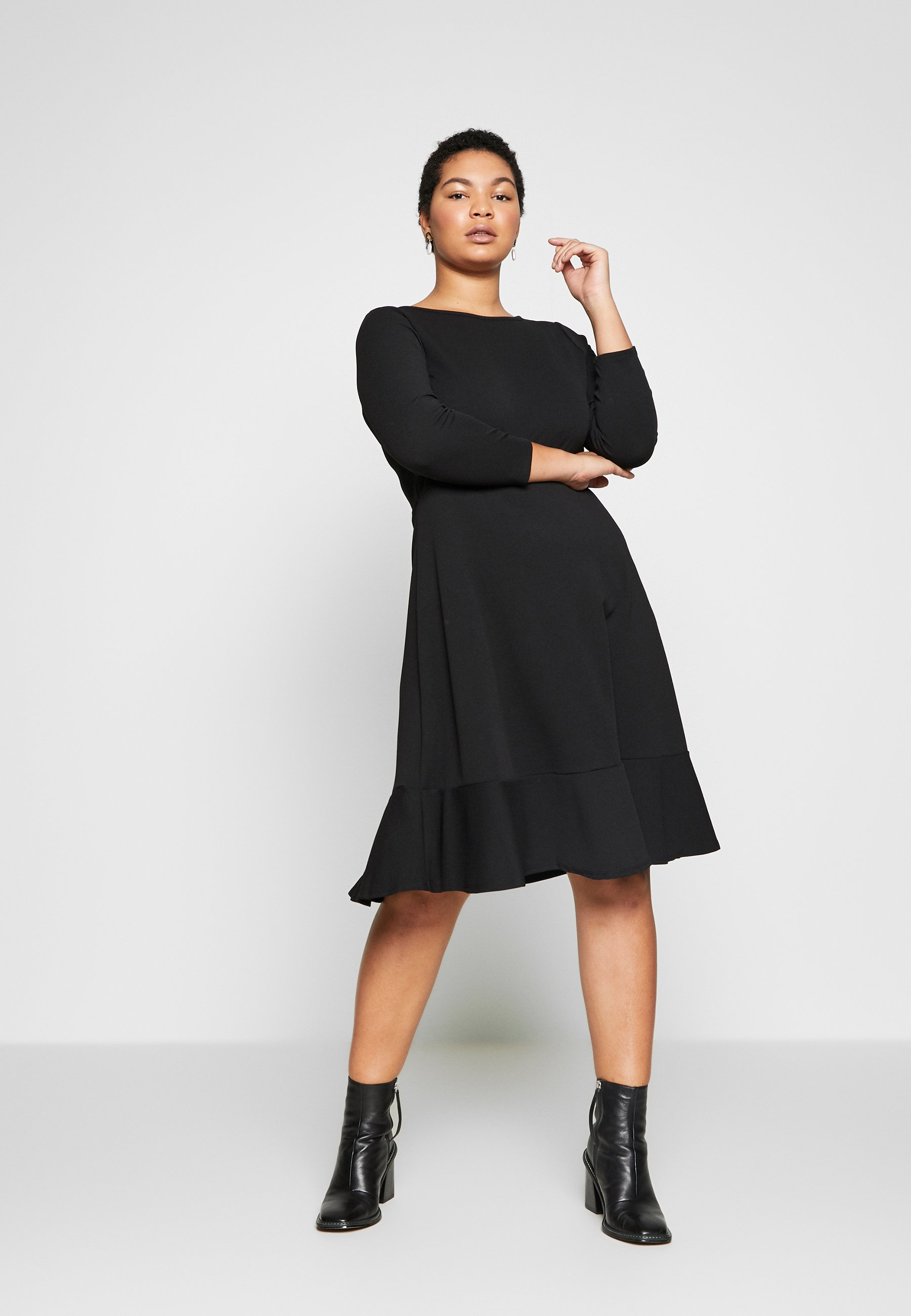 Evans BLACK FRILL HEM DRESS - Vardagsklänning - black