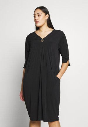 BUTTON POCKET DRESS - Jersey dress - black