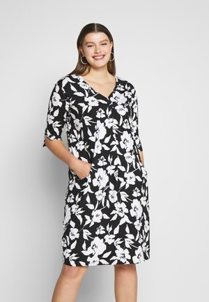 MONO FLORAL POCKET DRESS - Day dress - black