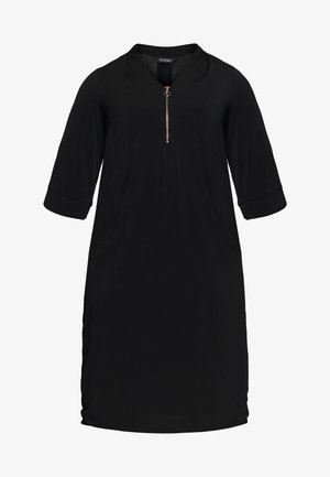 BLACK ZIP FRONT POCKET DRESS - Denim dress - black