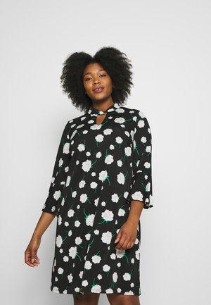 NEUTRAL FLORAL TWIST NECK DRESS - Jersey dress - black