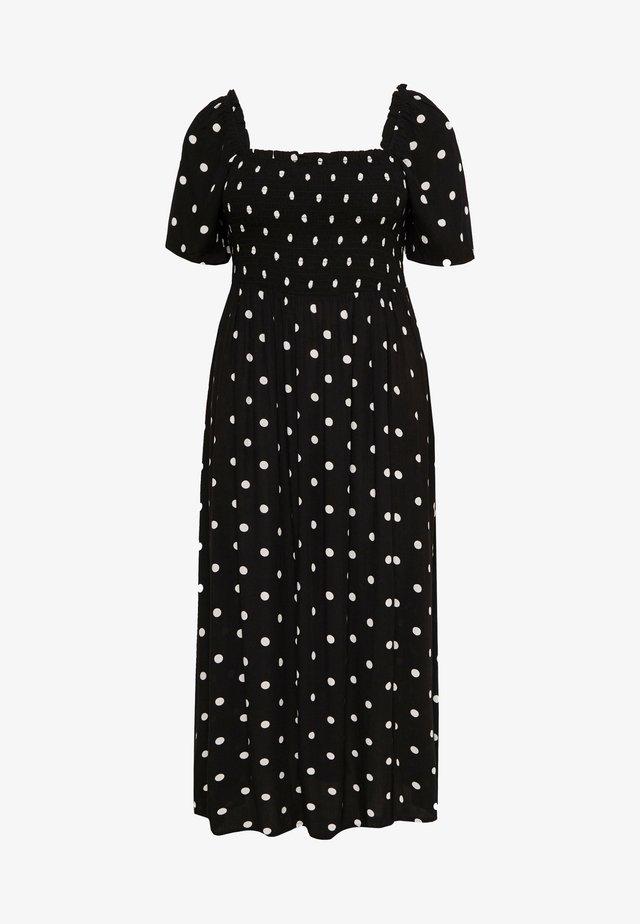 SHIRRED GYPSY DRESS - Długa sukienka - black/red
