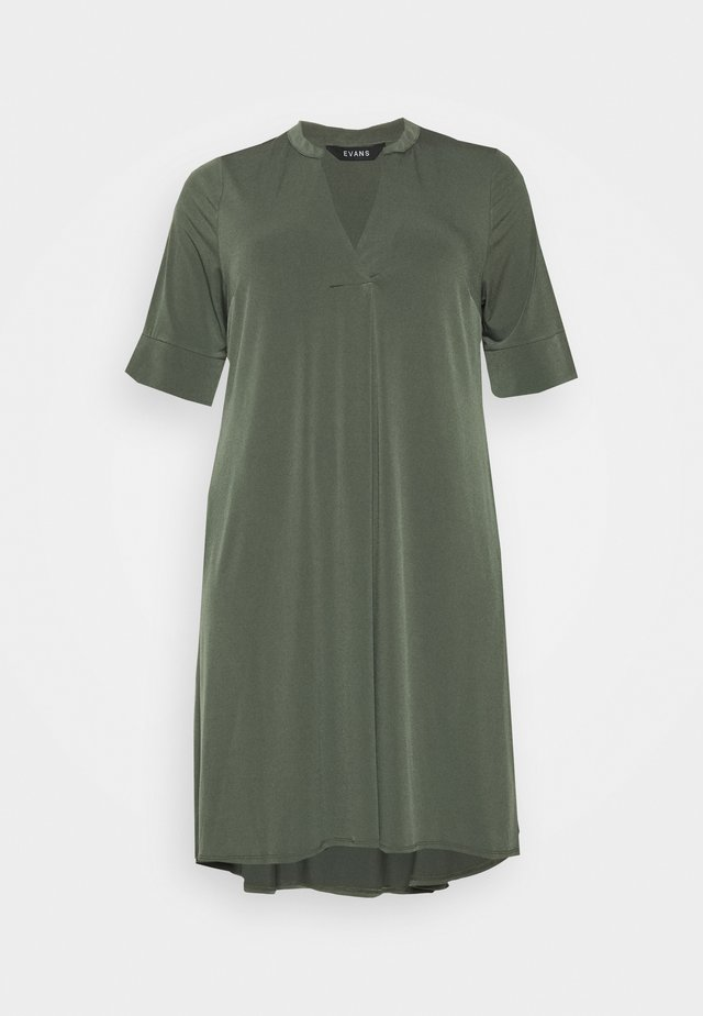 POCKET DRESS - Žerzejové šaty - khaki