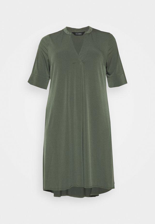 POCKET DRESS - Jersey dress - khaki