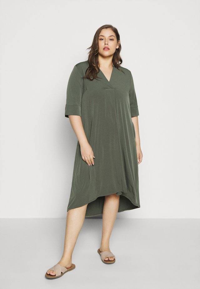 POCKET DRESS - Jersey dress - khaki