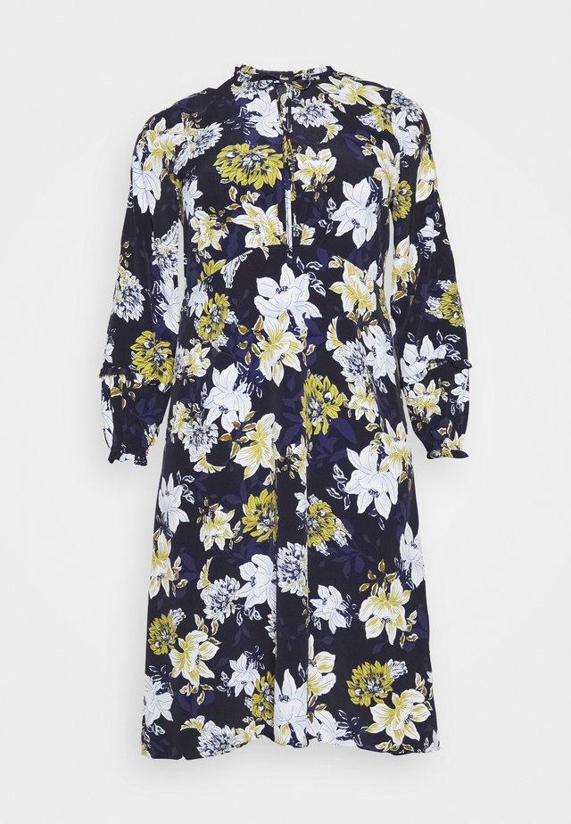 FLORAL PRINT TIE NECK DRESS - Day dress - navy