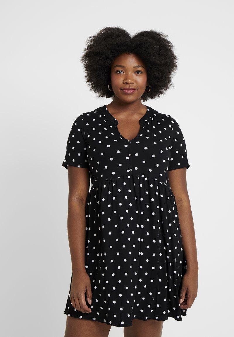 Evans - SPOT TIERED TUNIC - Jersey dress - black