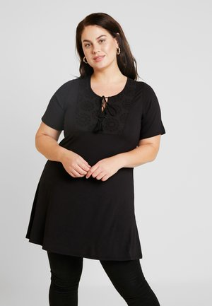 BRODERIE TRIM TUNIC - T-shirts print - black