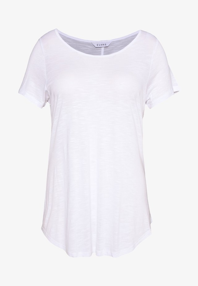 SCOOP NECK - T-shirts - white