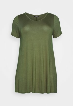 V NECK SHORT SLEEVE SWING  - Print T-shirt - green