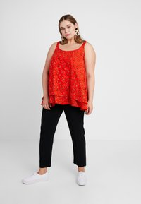 Evans - DITSY FLORAL DOUBLE LAYER CAMI - Bluser - red - 1