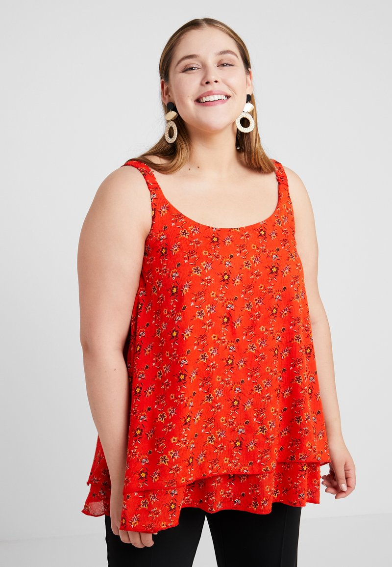 Evans - DITSY FLORAL DOUBLE LAYER CAMI - Bluser - red