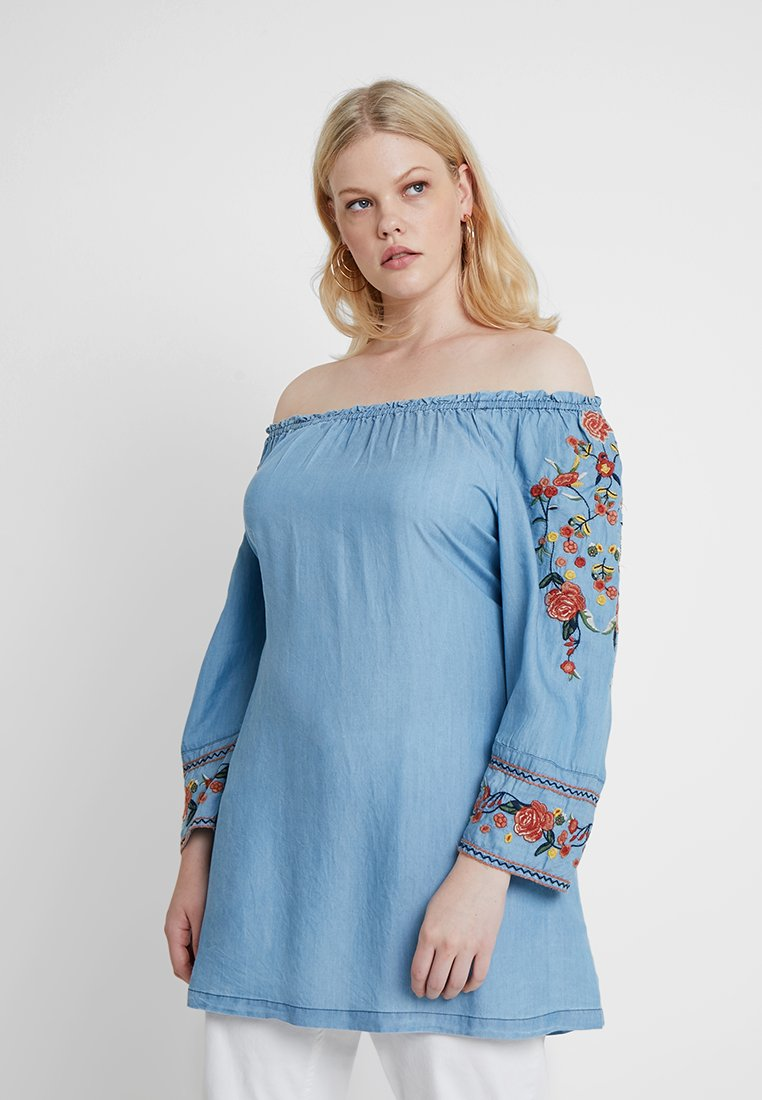 Evans - EMBROIDERED SLEEVE BARDOT TUNIC - Bluse - blue