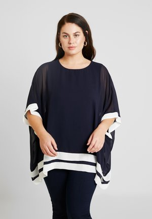 CONTRAST DOUBLE HEM - Blouse - navy