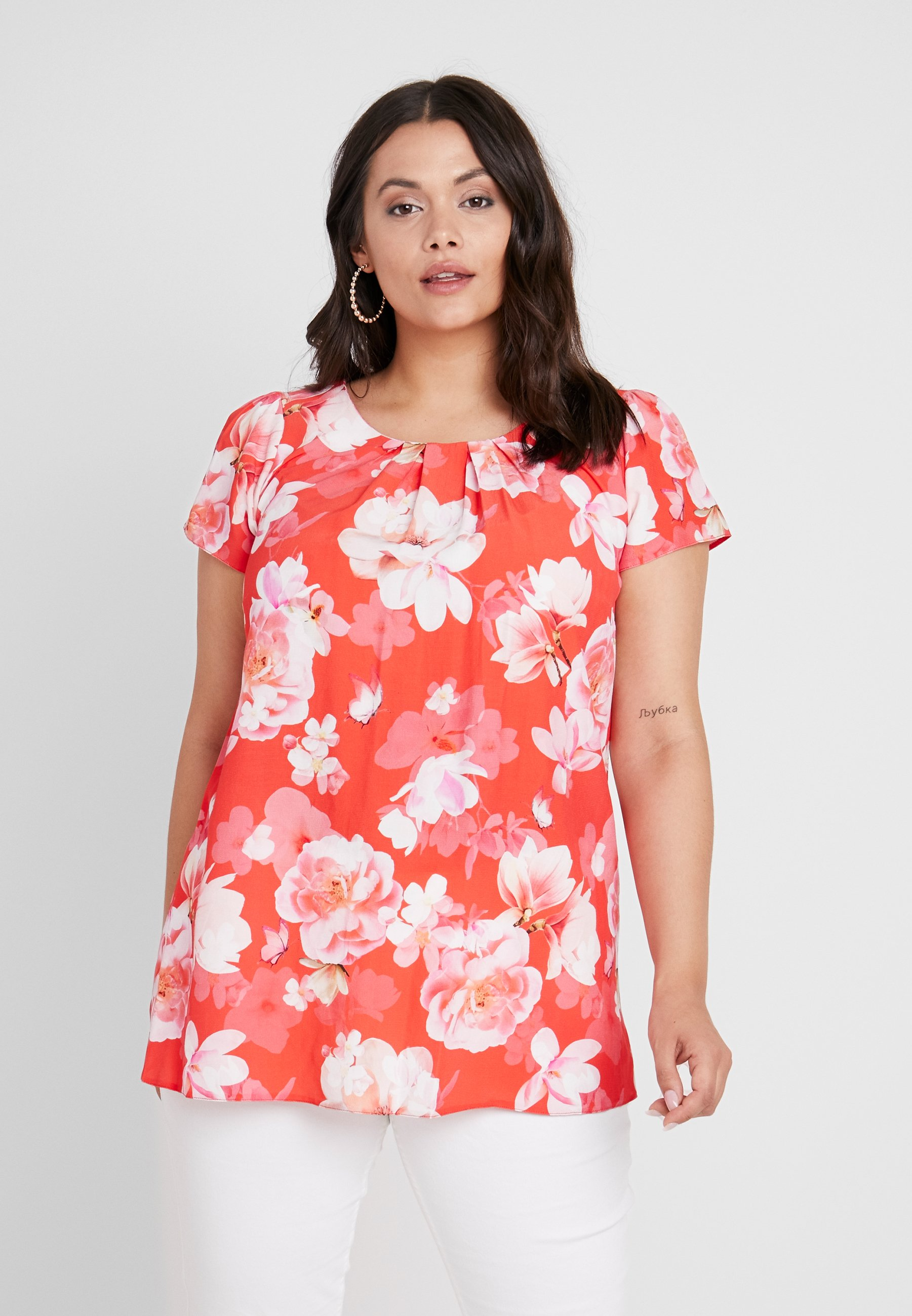 Evans FLORAL SHELL - Blouse coral