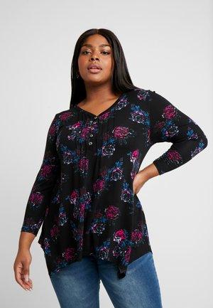 HERITAGE PRINT PINTUCK - T-shirt à manches longues - black