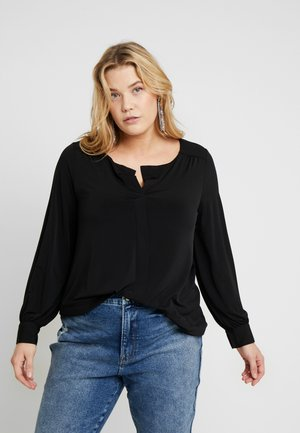V NECK - Blouse - black