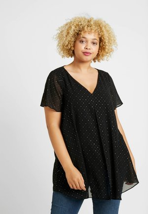SPARKLE SPOT SPLIT FRONT - Blouse - black