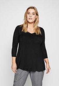 Evans - BUTTON DETAIL - T-shirt à manches longues - black - 0