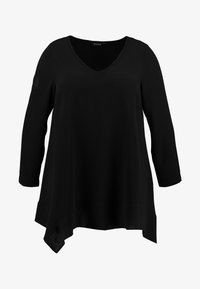 Evans - LONG SLEEVE HANKY HEM - Blouse - black - 4