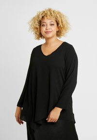 Evans - LONG SLEEVE HANKY HEM - Blouse - black - 0