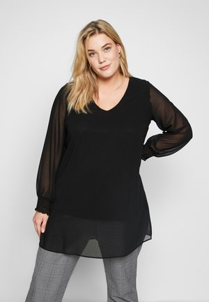 BLACK LONG SLEEVE SPLIT FRONT TOP - Bluser - black