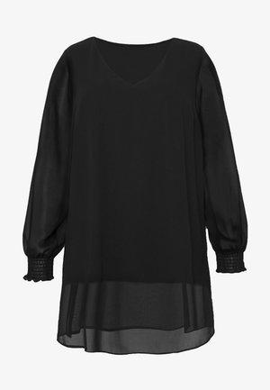 BLACK LONG SLEEVE SPLIT FRONT TOP - Bluser - black