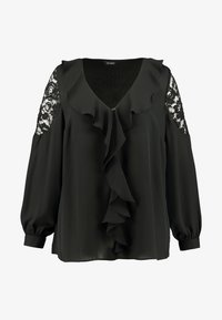 Evans - BLACK LACE FRILL TOP - Blůza - black - 4