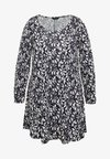 GATHERED CUFF TUNIC - Long sleeved top - navy
