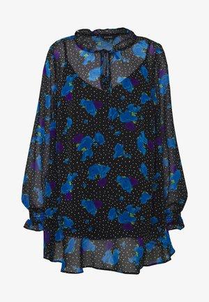 FLORAL FRILL NECK FRILL HEM - Blouse - blue