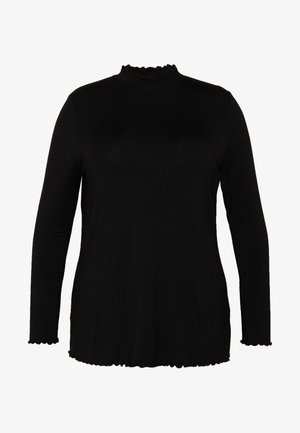 BLACK FRILL HIGH NECK LONG SLEEVE TOP - Blouse - black