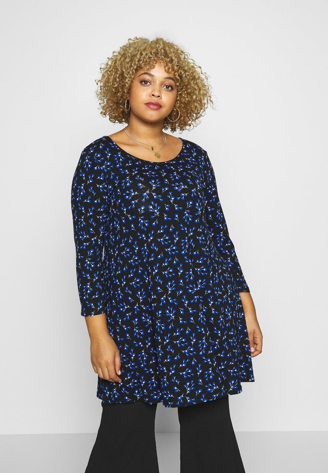 MINI FLORAL PRINT SWING TUNIC - Bluzka - black