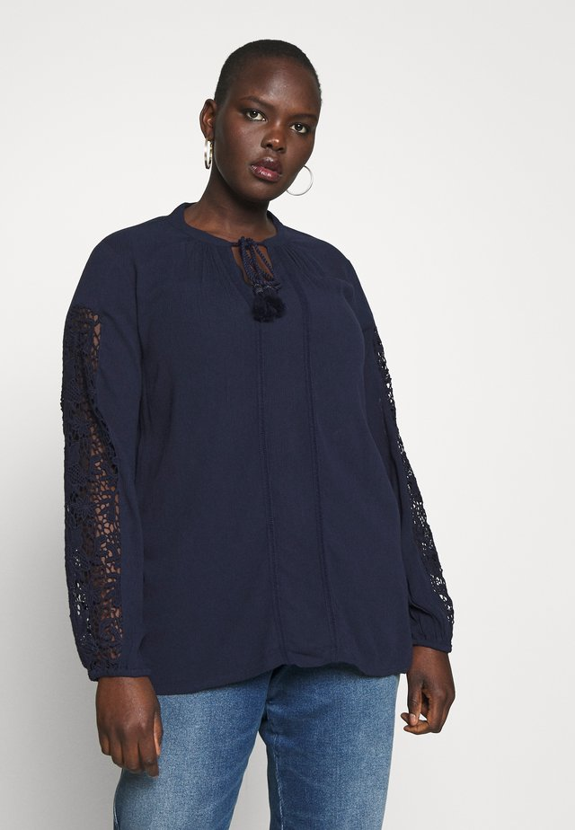 CROCHET SLEEVE BLOUSE - Tunique - navy