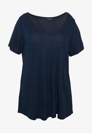 V NECK SHORT SLEEVE TEE - T-shirts - navy