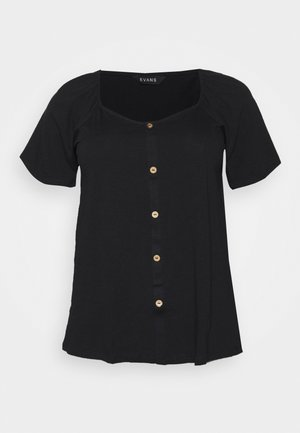 BUTTON SQUARE NECK - Bluser - black