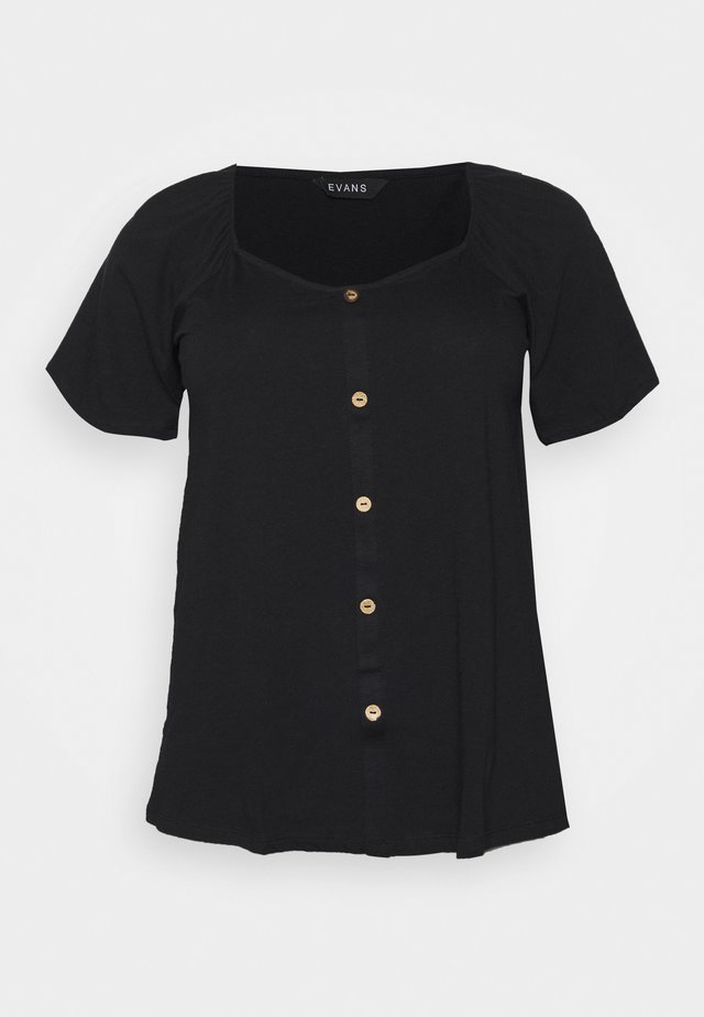 BUTTON SQUARE NECK - Blouse - black