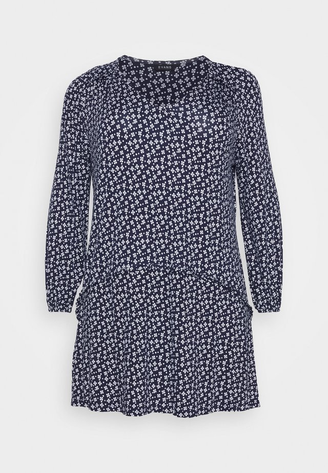 FLORAL SPOT SWING - Long sleeved top - navy