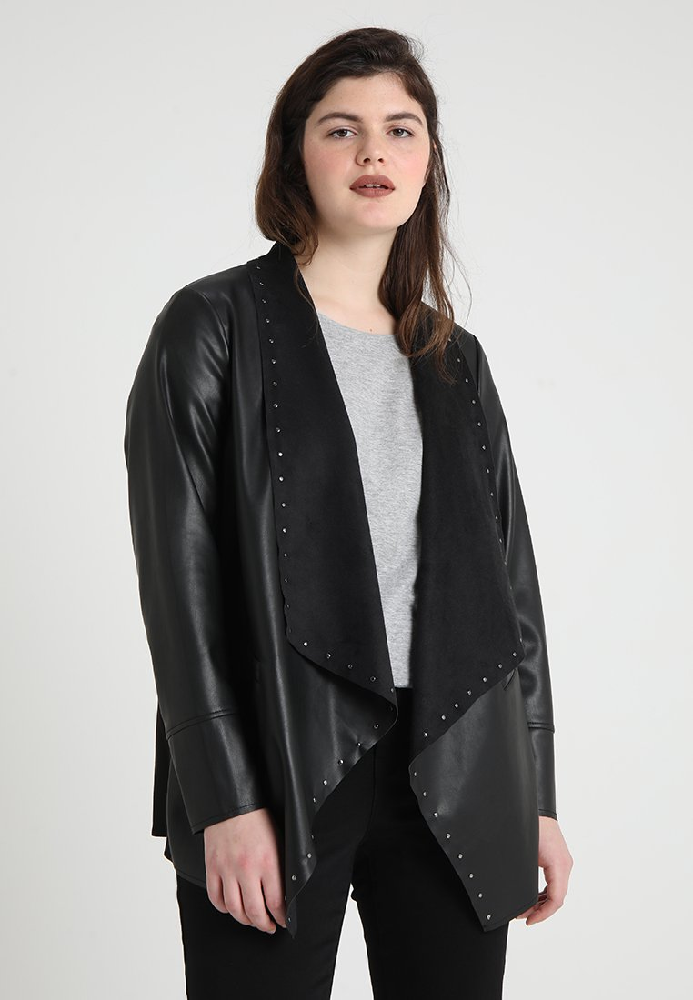 Evans - STUD WATERFALL JACKET - Faux leather jacket - black
