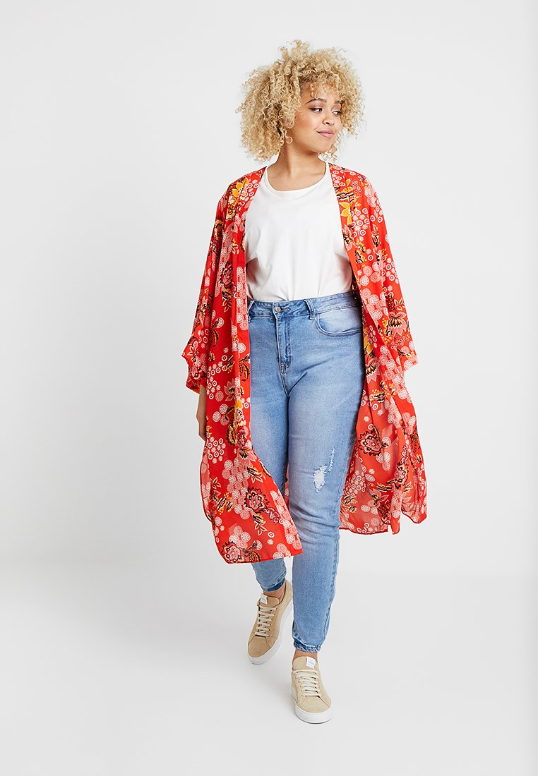 Evans - PAISLEY KIMONO                 - Summer jacket - red