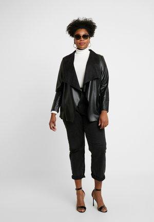 WATERFALL JACKET - Faux leather jacket - black