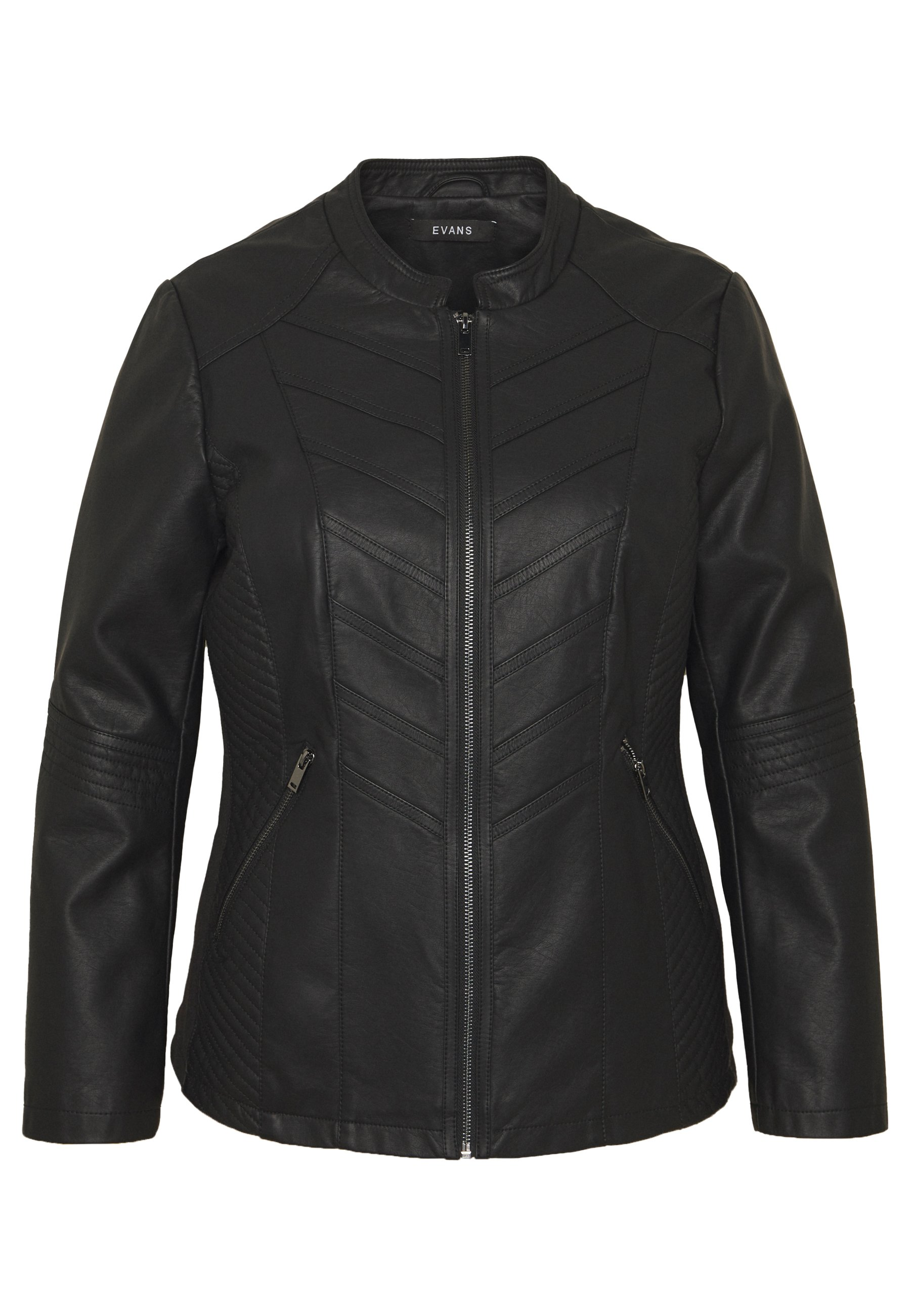 Evans STITCH DETAIL BIKER JACKET - Giacca in similpelle - black