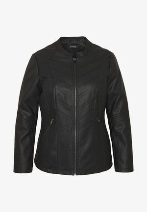 STITCH DETAIL BIKER JACKET - Faux leather jacket - black