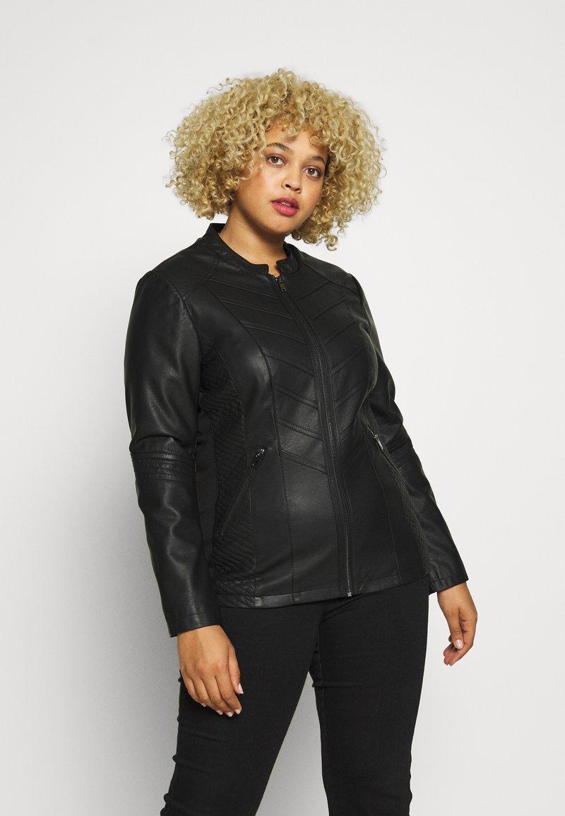 Evans - STITCH DETAIL BIKER JACKET - Faux leather jacket - black