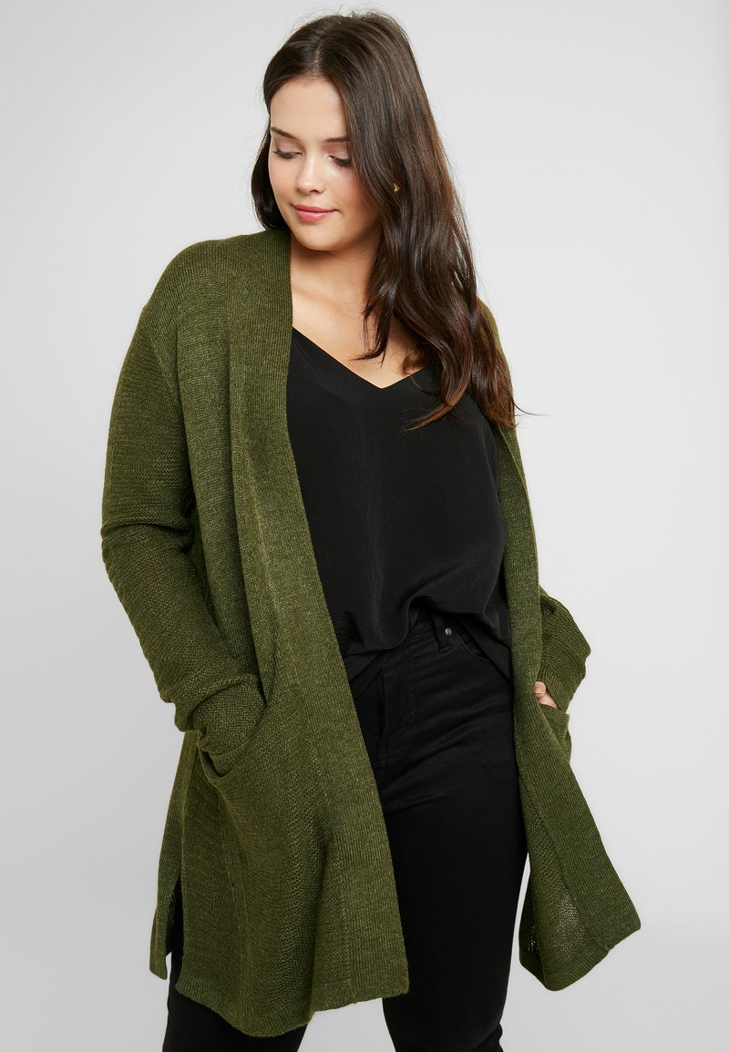 Evans - LONG STITCH CARDI - Cardigan - khaki