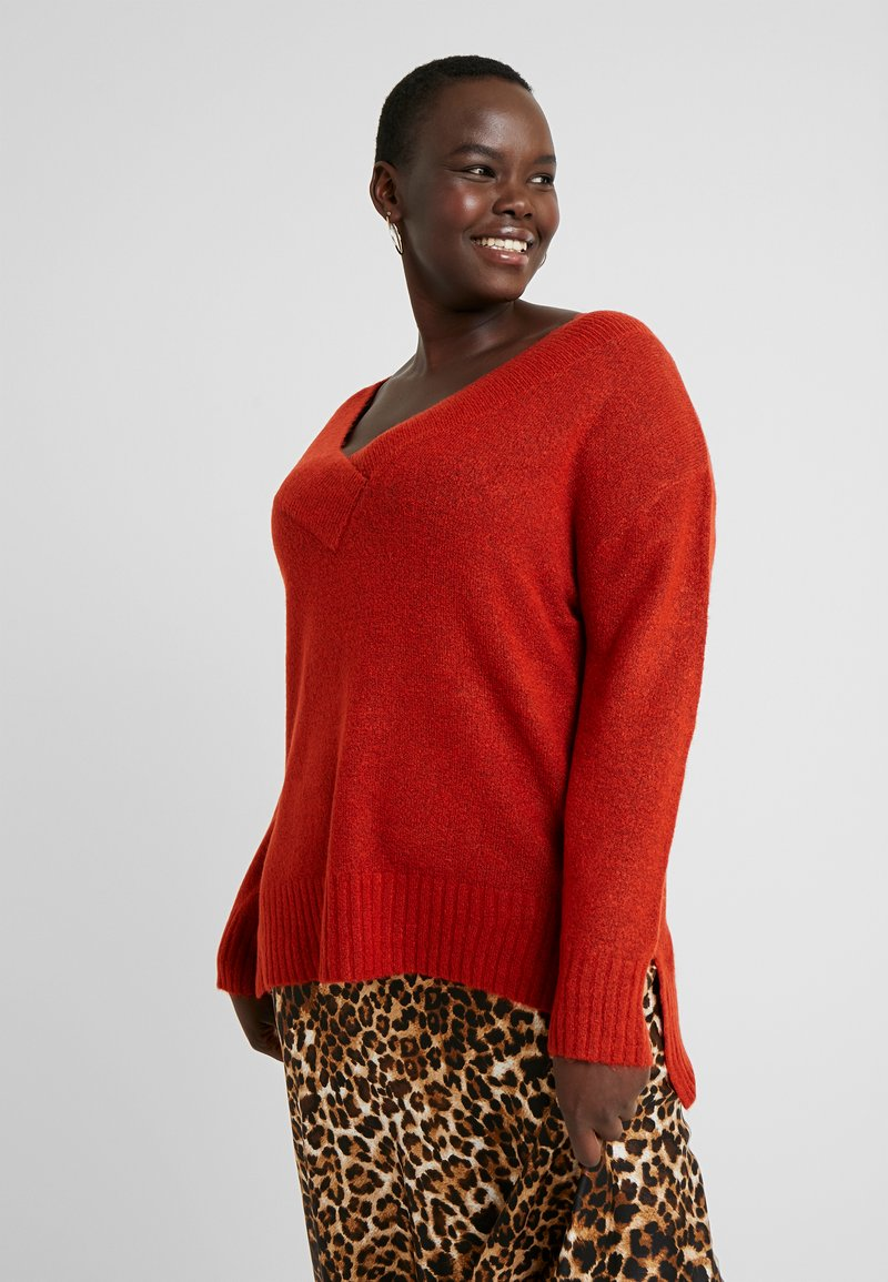 Evans - COMPACT DEEP V NECK JUMPER - Neule - copper