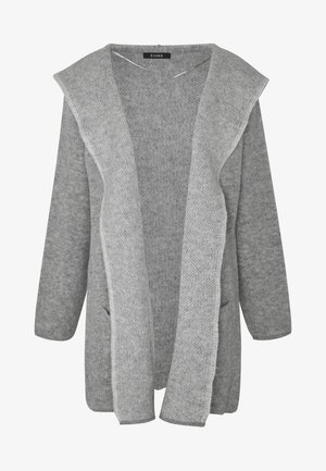 HOODED EDGE TO EDGE MID GAUGE CARDI - Cardigan - grey