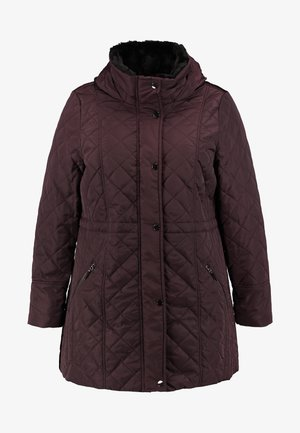 COLLAR QUILTED COAT - Parka - plum