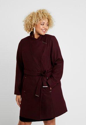 PLUM TIE FRONT COAT - Classic coat - plum