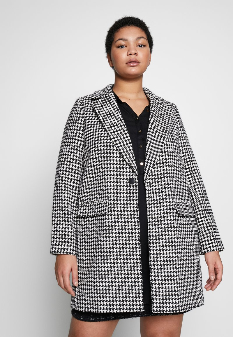 Evans - DOGTOOTH DOUBLE BREASTED COAT - Short coat - black/white